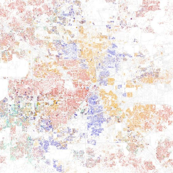 The red dots show white people, blue is Black, orange is Latino/a, green is Asian, and yellow is other, according to maps of 2010 Census data by Eric Fischer. Read more: http://www.businessinsider.com/most-segregated-cities-census-maps-2013-4?op=1#ixzz2VmCRhRjP